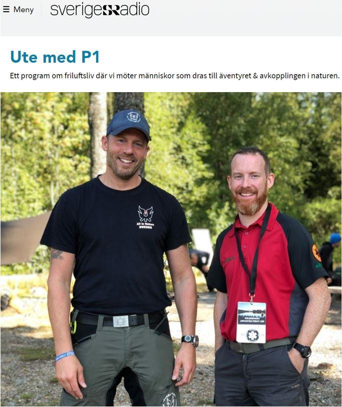 Torbjörn Selin överlevnadsinstruktör och Erik Holm ambulanssjuksköterska poserar för Sveriges radio P1 Ute med P1