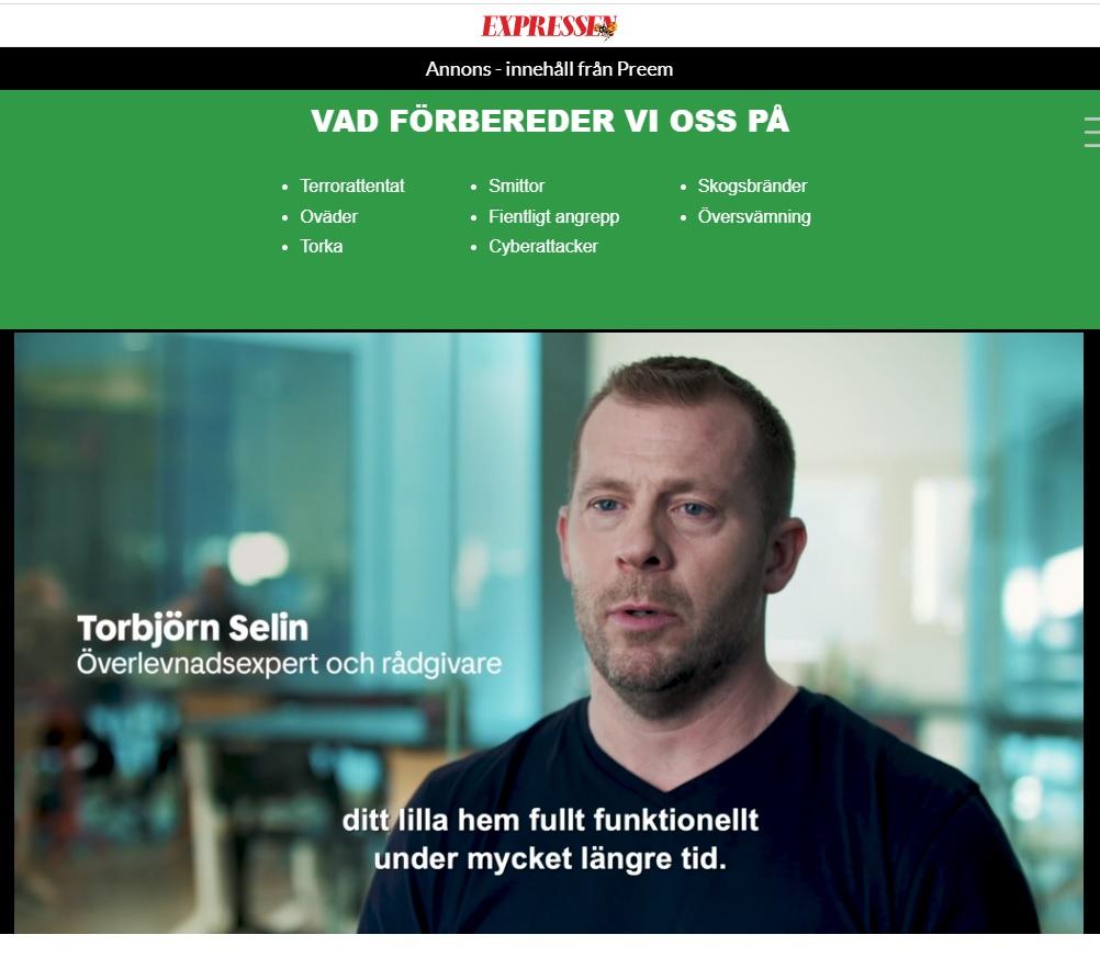 Preeem möter svenska preppare. Torbjörn intervjuas.